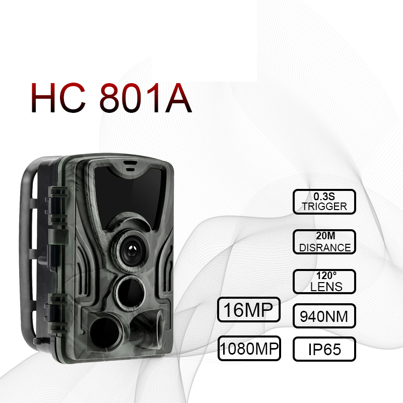 Hunting Camera 16MP Trail Camera Night Version  Ip65 Wildlife Surveillance Camera Chasse Scouts GSM HC801A hunter-in Hunting Cameras from Sports & Entertainment