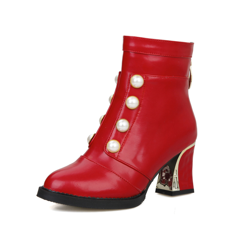 New Sexy Women Ankle Boots White Black Red Beige Lady Motorcycle Pearl Nude Shoes High Heels AY902-6 Plus Big Size 12 43 48 brand new hot sales women nude ankle boots red black buckle ladies riding spike shoes high heels emb08 plus big size 32 45 11