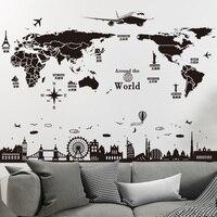 [SHIJUEHEZI] мира географические карты наклейки на стену DIY Европа Стиль рисунки на зданиях настенные для дома гостиной спальня общежитии украше...