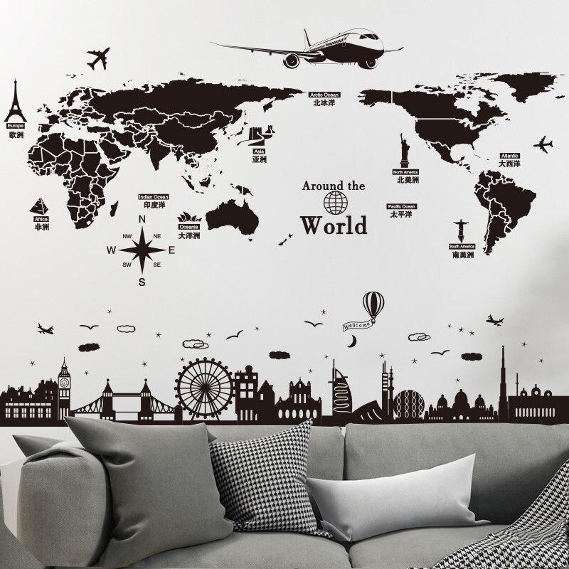 [SHIJUEHEZI] Welt Karte Wand Aufkleber DIY Europa Stil Gebäude Wandbild Decals für Wohnzimmer Schlafzimmer Schule Büro Dekoration