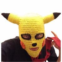 Ręcznie Dziane Animacja Zimowe Hat Halloween Śmieszne Pamiątki Fajne Moda Czapki Beanie Kapelusz Żółty Kreskówek Zwierząt Rogi
