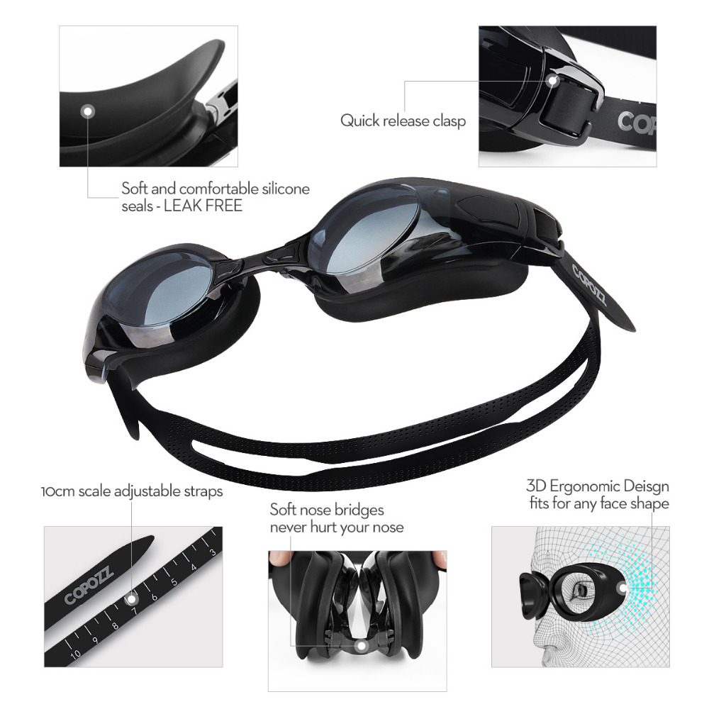 copozz myopia pro diopter swimming goggles 0 -1.5 to -8 with double anti fog uv protection