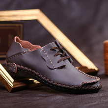 Autumn breathable handmade shoes mens casual peas Korean version of the tide large code wide