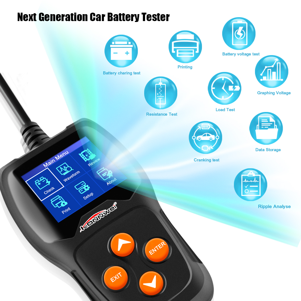 KONNWEI KW600 Car Battery Tester 12V Digital Color Screen Auto Battery Analyzer 100 to 2000CCA Cranking