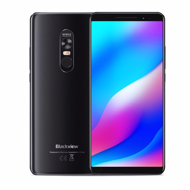 "Blackview MAX 1 สมาร์ทโฟน 6GB + 64GB 6.01 ""หน้าจอ 4680mAh MT6763T Octa Core Android 8.1 Dual โทรศัพท์มือถือซิม NFC Mini โปรเจคเตอร์"