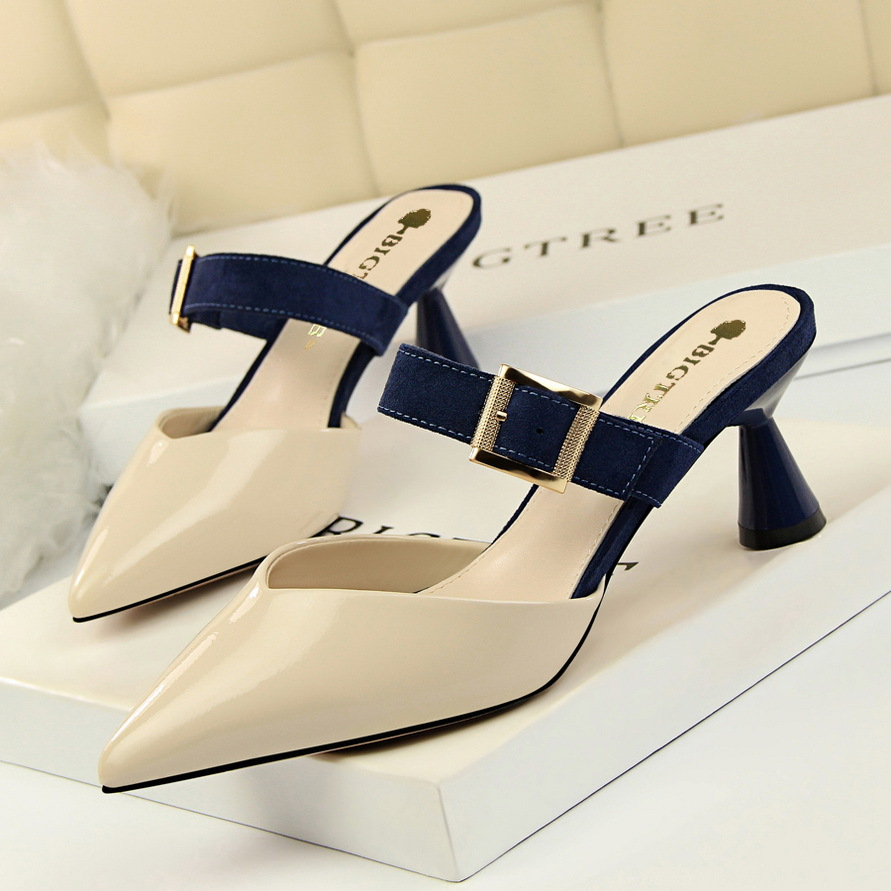 Korean Fashion Coarse heeled High heeled Painted Leather, Shallow Point Coloured Belt Buckle Head Half Slippers