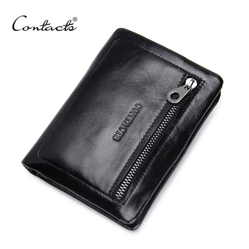 CONTACT'S Genuine Leather Men Wallets Oil Wax Leather Man Purses Credit Card Holder Zip Coin Pocket  Brand Wallet Free Shipping! coin purses genuine leather credit id