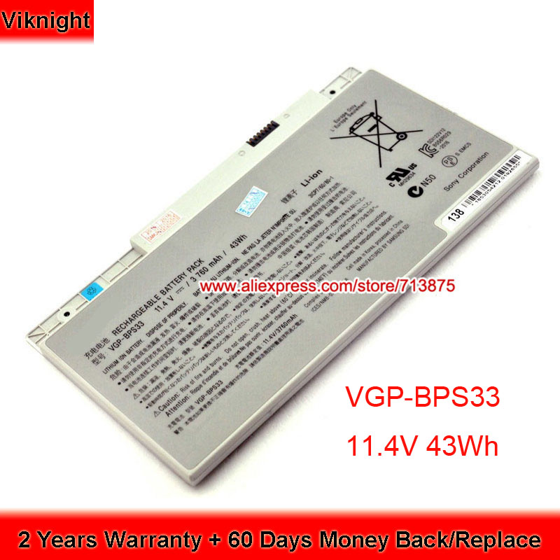 Genuine 11.4V 43Wh BPS33 VGP-BPS33 Battery For Sony Vaio SVT151A11L SVT141C11L SVT-14 SVT-15 Touchscreen Ultrabooks VGPBPS33