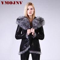 YMOJNV New Women Winter Jacket Hooded Double faced Fur Jackets Female Large Fur Collar Faux Fur Outerwear Slim Streetwear Coat