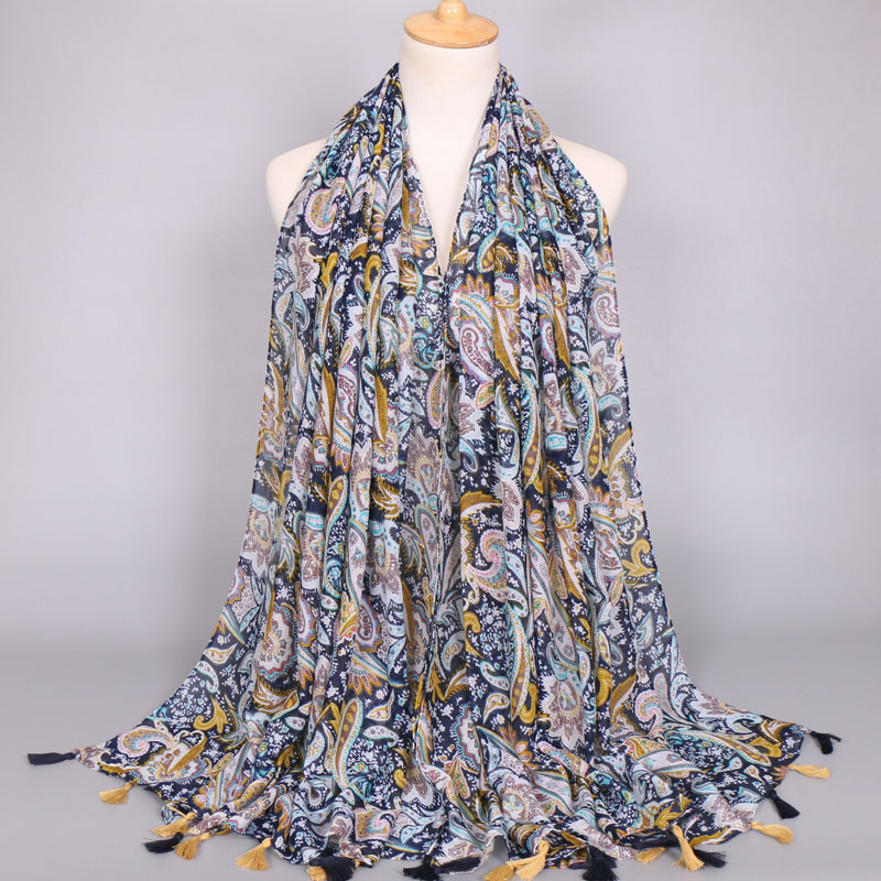 Female fashion printed cashew tassels viscose scarf new style long scarf muslim hijab wrap  pashmina/scarves  5pcs/lot