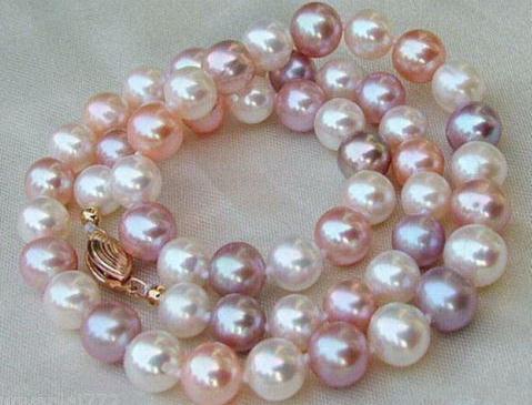 Charmant collier de perles AAA 8-9 MM mer du sud blanc violet rose multicolore 18 pouces chokerCharmant collier de perles AAA 8-9 MM mer du sud blanc violet rose multicolore 18 pouces choker