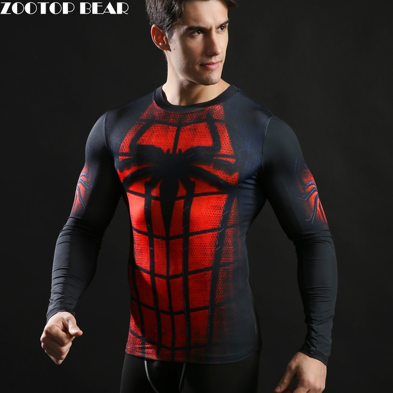 2017 New Fitness   T  -  Shirt   3D Print Long Sleeve Spideman Captain America   T     Shirt   Men Bodybuilding Crossfit Brand Clothing