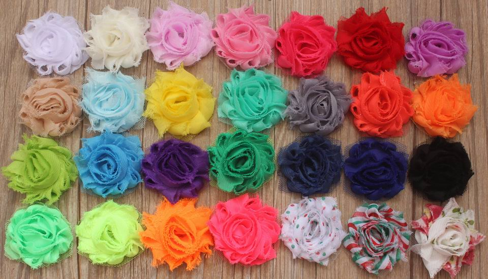 30y 1 5 Mini Shabby Chiffon Rose Flower for Girls Headbands Shabby Hair Clip Flowers Girl