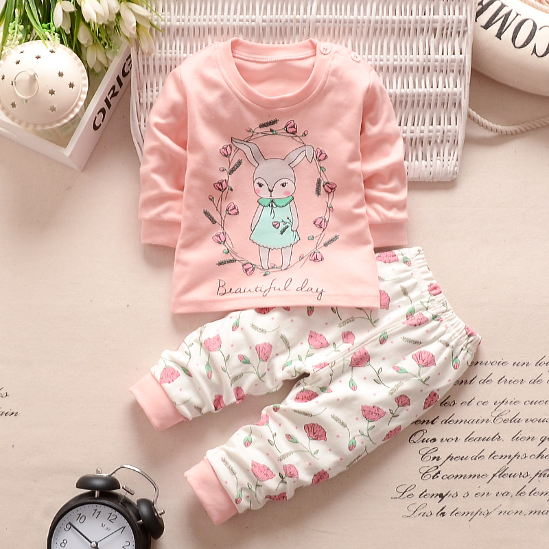 купить 2018 New Autumn Children Baby Boys Girls Clothing Sets Tracksuit 2PCS Cotton Sport Suit Cartoon T-shirt+Pants Kids Clothes Sets по цене 347.62 рублей