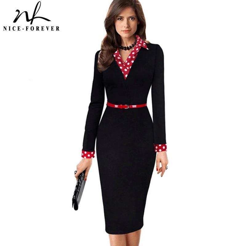 Nice-forever Women Vintage Turn-down Collar Wear To Work Vestidos Office Bodycon Long Sleeve Patchwork Sheath Polka Dress B334