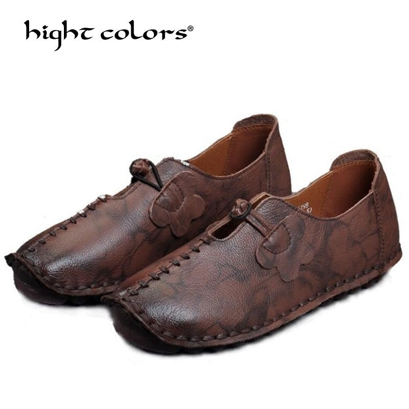 Retro folk style genuine leather shoes handmade soft bottom flat with cowhide women's shoes 2018 spring deep flat mother shoes original handmade autumn women genuine leather shoes cowhide loafers real skin shoes folk style ladies flat shoes for mom sapato