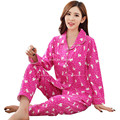 2016 Primavera Otoño Invierno de Punto de Algodón Mujeres Pijamas Sleepcoat Conjunto Pantalones ropa de Dormir Ropa de Hogar Femenina de Las Mujeres Ocasionales de la Señora Suave