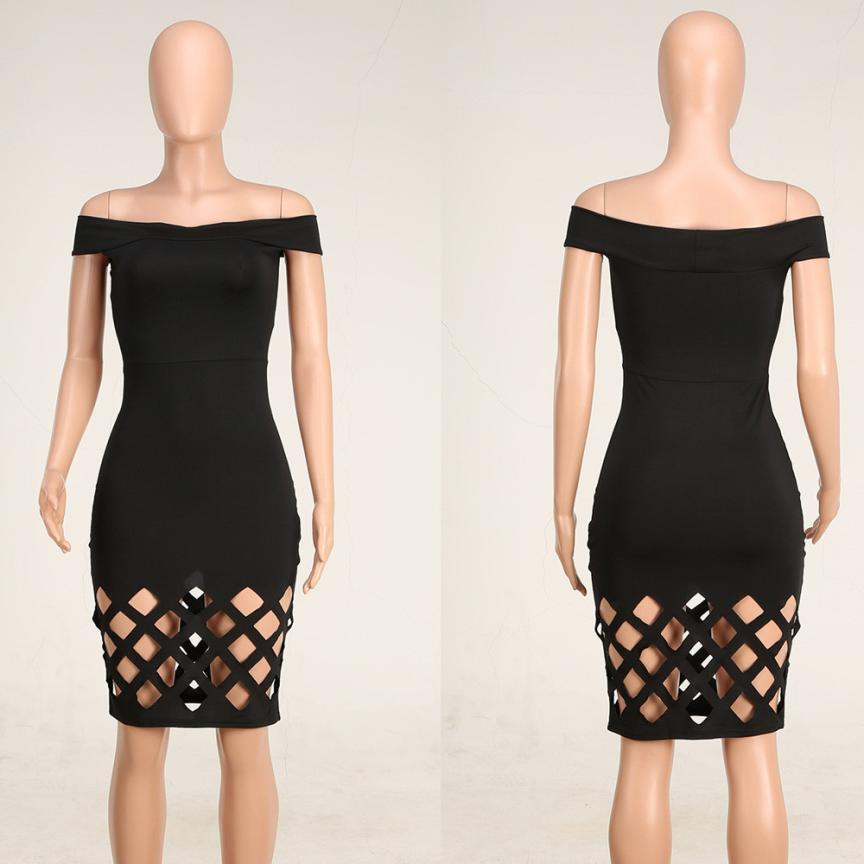 Beautiful Sexy Atrractive Womens Dress 2018 Womens Off Shoulder Hollow Bodycon Ladies Caged Sleevlees Dress Robe Sexy