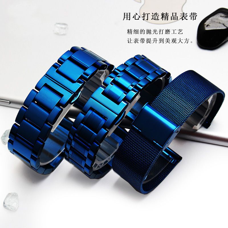 2018 NEW Arrivals High Quality Blue Stainless Steel Bracelet Strap Wrist Watch Mesh Replacement Milanese Band 18 20mm 833 stylish 8 led blue light digit stainless steel bracelet wrist watch silver blue 1 x cr2016