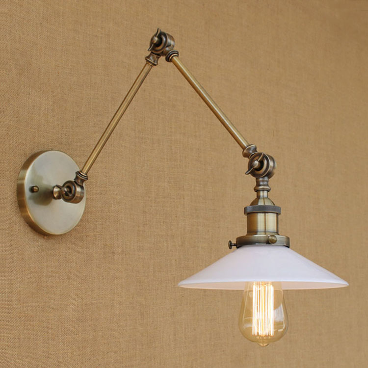 Glass Swing Long Arm Wall Light Fixtures Wandlamp Rustic Retro Vintage Wall Lamp Loft Industrial Sconce LED Lampe Murale iwhd swing arm sconce vintage wall lamp loft retro glass lampshade wandlamp black iron led wall light up down lighting stairs