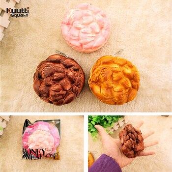 Kuutti Squishy 24 PCS NEW Original Packing Soft Honey Bread Puff Squishy Jumbo Size Slow Rising Pink Chocolate Squishy Food