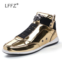 LFFZ Fashion Glossy Men Vulcanize Shoes Slip On Sneakers Waterproof Men Casual Shoes Sequin Flats Comfortable Men Footwear 39 44