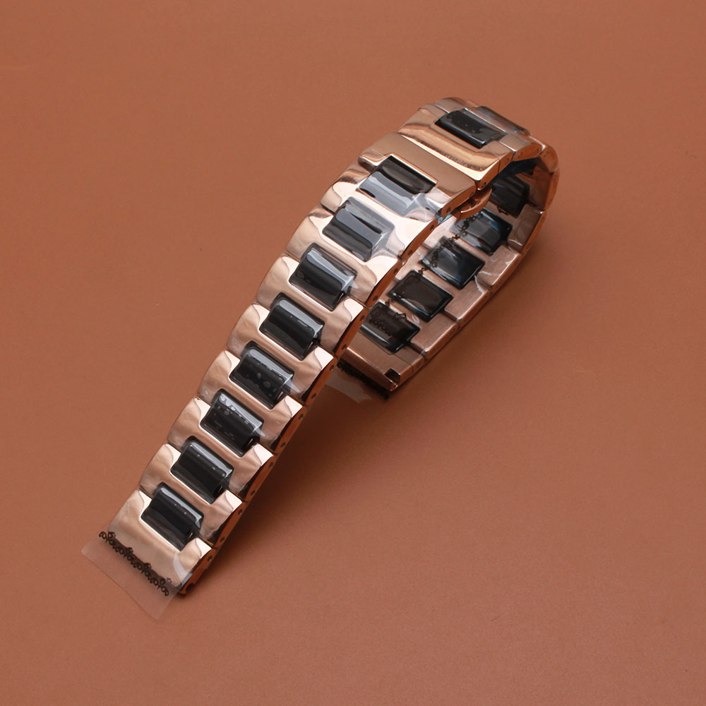 Watchbands  stainless steel wrap Black ceramic Polished Rose gold High quality watch strap accessories 14m 16mm 18mm 20mm 22mm