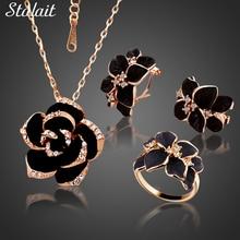 Модный набор эмалированных ювелирных украшений с цветком розы, цвета розового золота, с черной росписью, свадебные комплекты украшений для женщин, свадебные 82606
