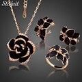 Мода Роза Эмаль Комплект Ювелирных Изделий Позолоченный Черный Живопись Комплекты Ювелирных Изделий для женщин 82606