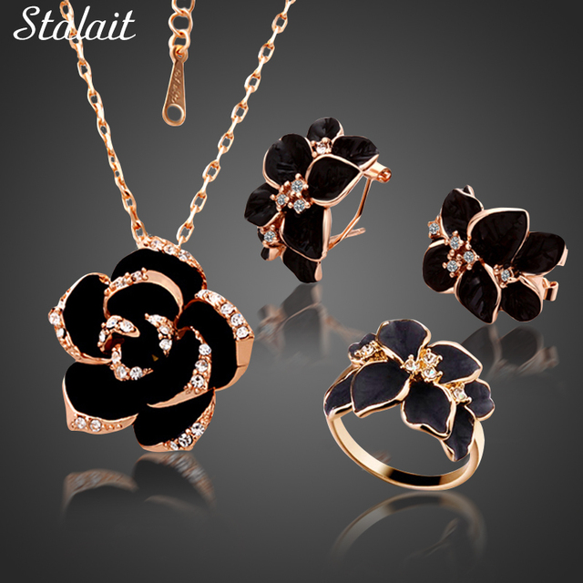 אופנה רוז פרח אמייל תכשיטי סט רוז זהב צבע שחור ציור כלה נשים חתונה 82606