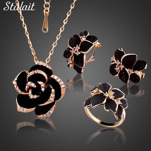 Fashion Rose Flower Enamel Jewelry Set Rose Gold Color Black Painting Bridal Jewelry Sets for Women Wedding 82606(China)