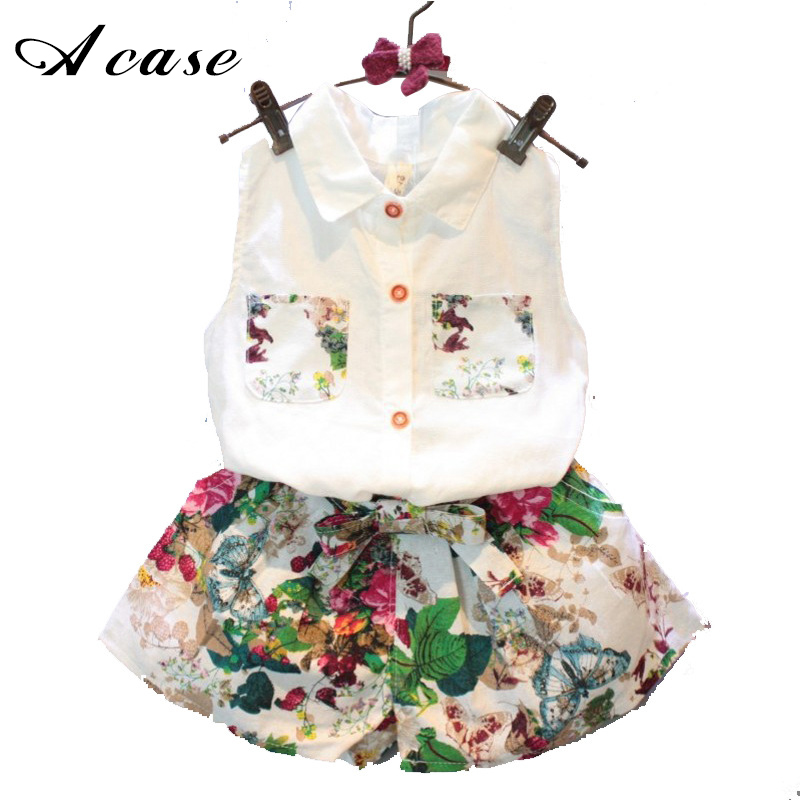 Girls New Summer Fashion Floral Shorts Suit 2018 Children's Clothing Sleeveless Lapel Top Shirt + Pants Two Piece Set Colorblock