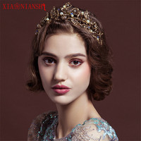 XIAONIANSHI Baroque Retro Luxury Pearl Gold Crown Bridal Wedding Jewelry Rhinestone Tiaras Crowns Pageant Dress Hair