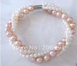 Wholesale Fancy 3 Strands Twisted white Pink Pearls woman\'s bracelet ...