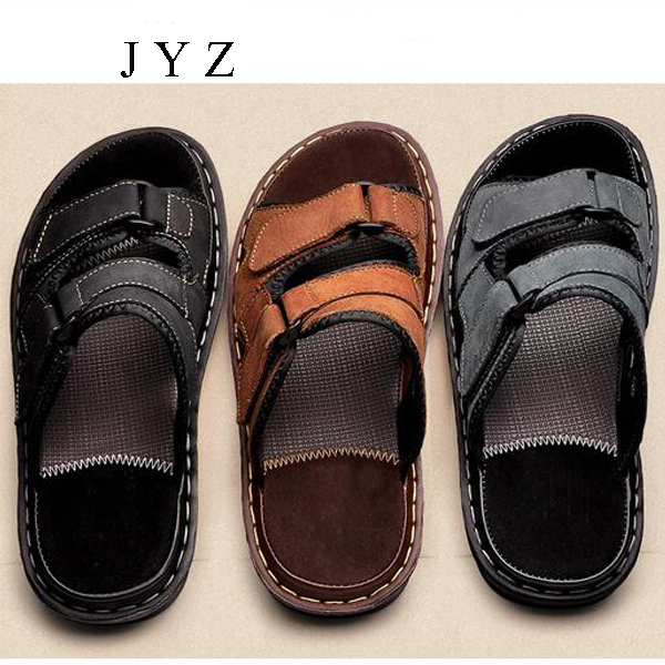 2017 New Mens Sandals Slides Slippers Flats Summer Beach Shoes Big Size Large Leather Shoe Man Plus Big Large Size 45 46 bb0242