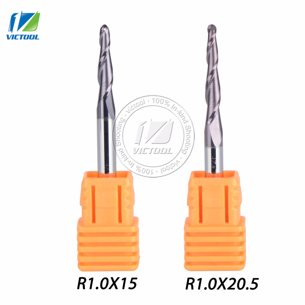 2pcs/lot Tapered Ball Nose End Mill R1.0*D4*50L*2F 15mm and 20.5mm flute solid carbide  milling cutter engraving grinding bit polly dunbar tilly and friends doctor tilly
