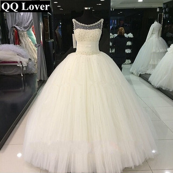 2019 New African Wedding Dress Elegant Pearls Beaded Custom-made Plus Size Bride Wedding Gown Vestido De Noiva
