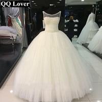 QQ Lover 2018 New African Wedding Dress Elegant Pearls Beaded Custom Made Plus Size Bride Wedding