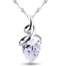 Women 3 Colors Crystal Rhinestone Drop Silver Color Chain Necklace Pendant For Women