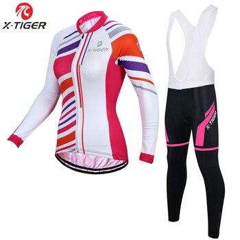 X-Tigre Mulheres Inverno Lã Térmica Ciclismo Jerseys Set Pro MTB Bicicleta Sportswear Para As Mulheres Super Quente Roupas de Ciclismo