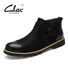 CLAX Mens Boots Genuine Leather Spring Autumn Shoe Male Designer Casual Winter Boot Fur Warm Fashion Walk Footwear