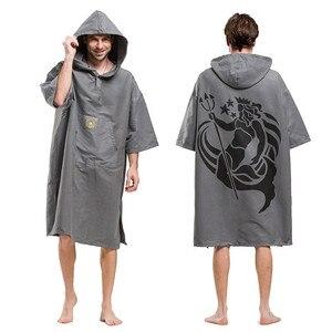 Image 2 - Poséidon serviette de bain à capuche, imprimée, pour adultes, peignoir à capuche, Poncho, femmes et hommes