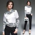 Мода Женщины Печати Блузки Весна Осень С Длинным Рукавом Шелковый Плюс Размер Дамы Рубашка Блузка Одежда Женщины Топы Рубашки