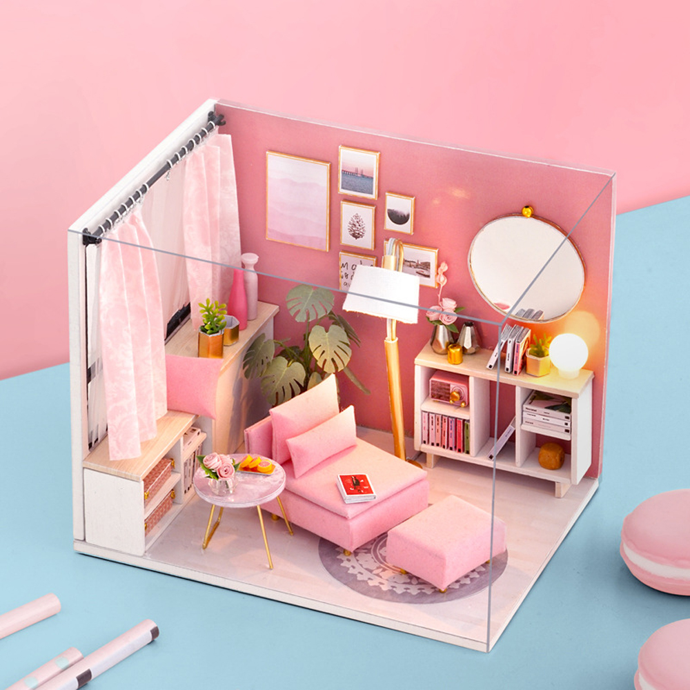 Kids Wooden Doll House DIY Barbie Kit Play Dollhouse Bedroom Set With Furniture