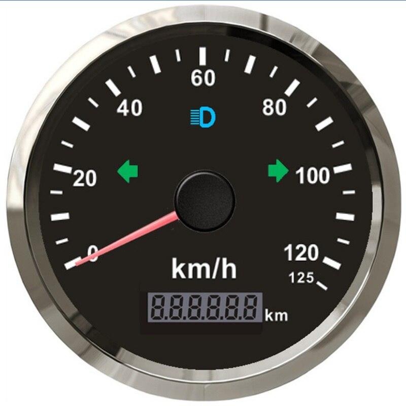 85MM Auto Motorcycle GPS Speedometer Odometer 0 125km h Mileage Adjustable Overspeed Bulzzer Alarm