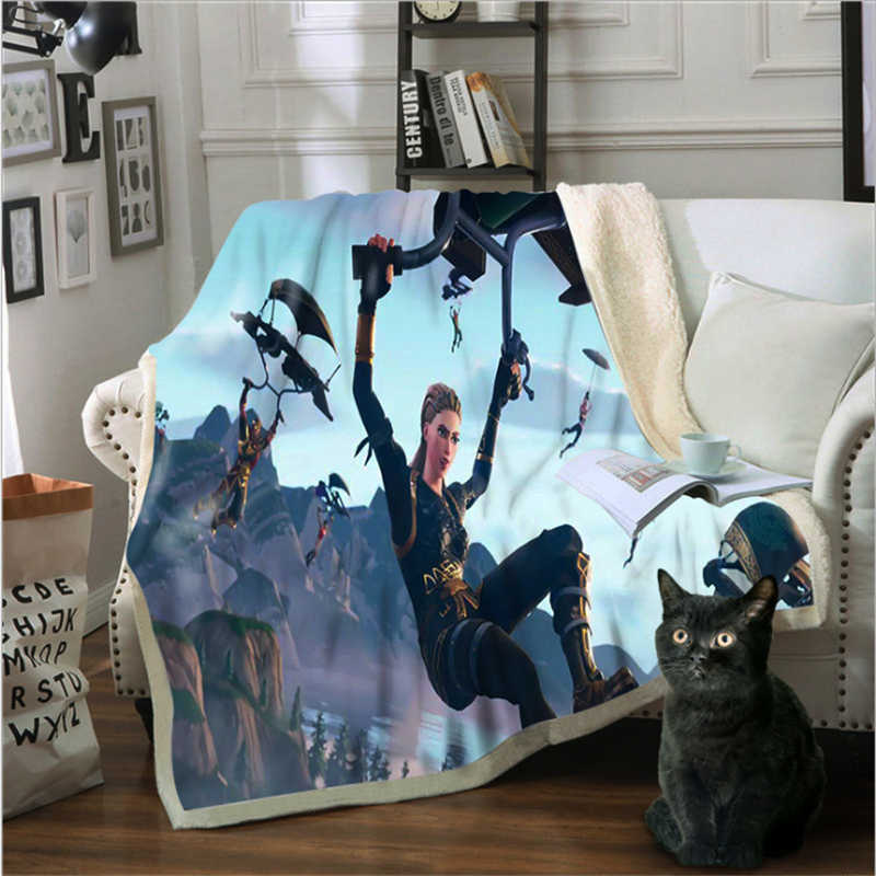Sofa Blanket Cotton Velvet 3D Printing Game Character Series Multi-purpose Blanket Double Thickening For Beds