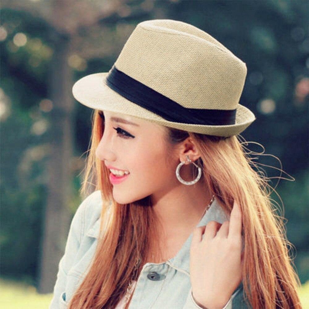 6ba591a61cb29 2016 Hot venta de moda sombrero hombres mujeres moda Jazz sombreros parejas  san valentín visera del sombrero de Sun regalo turística sombrero de playa  día ...