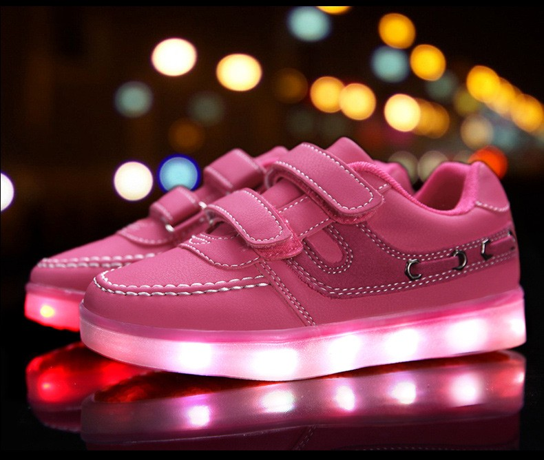 Children shoes with light 17 baby boys girls LED light shoes kids breathable fashion sneakers glowing USB charging shoes 7