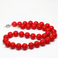 Hot sale fashion imitation red coral round bead necklace 8,10,12,14mm charms women best party weddings gift jewelry 18inch B1510