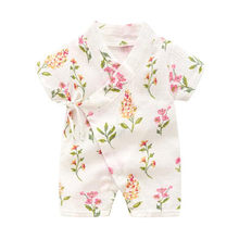 Summer Cotton Floral Kimono Style Baby Clothes Boys Girls Rompers Newborn Outfits Infant Jumpsuit Toddler Overalls Unisex 6-24 M(China)